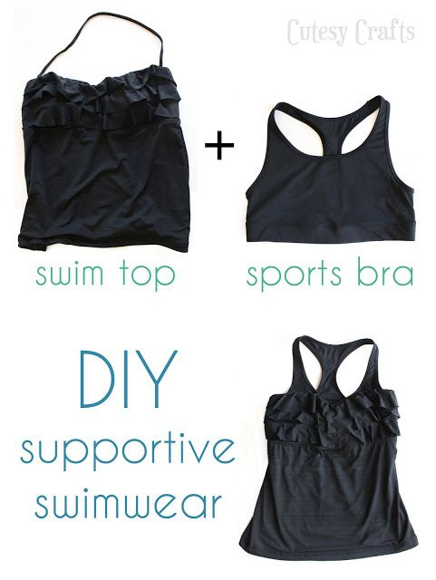 DIY Supportive Swimsuit Top Tutorial from Cutesy Crafts here.Another tutorial I wish had been posted earlier this summer. For making a bra into a bikini top (perfect fit top) go here and for adding bra cups to a bathing suit go here.