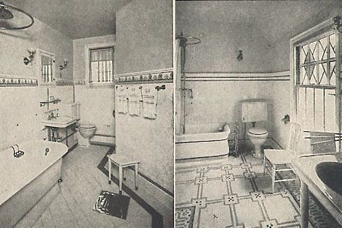 I like the floor on the right... cc  Historical Bathroom Photos « 1912 Bungalow