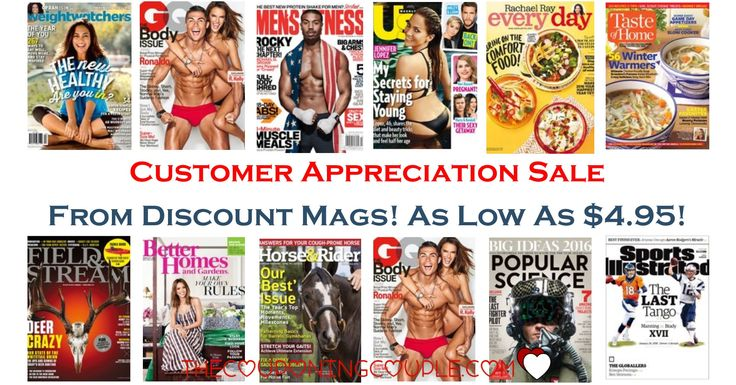 WooHoo! It is the Customer Appreciation Sale at Discount Mags! Starting as low as $4.95! Lots of great gift ideas too!  Click the link below to get all of the details ► http://www.thecouponingcouple.com/customer-appreciation-sale-at-discount-mags-starting-at-4-95/ #Coupons #Couponing #CouponCommunity  Visit us at http://www.thecouponingcouple.com for more great posts!