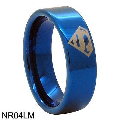 8mm Bridal Mens Superman Tungsten Engagement Ring Ceremony Wedding Band