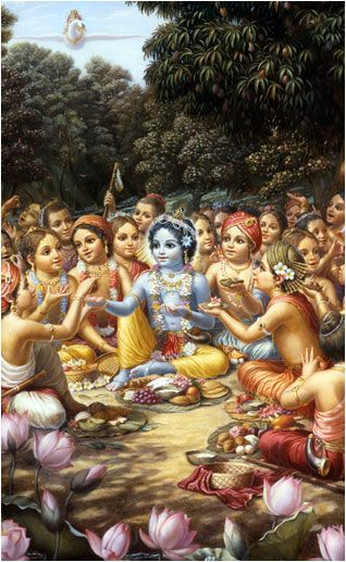"""On hearing this proposal from Kṛṣṇa, all the boys became very glad and said, """"Certainly, let us all sit down here to take our lunch."""" Sitting down on the ground and keeping Kṛṣṇa in the center, they began to open their different boxes brought from home. Lord Śrī Kṛṣṇa was seated in the center of the circle, and all the boys kept their faces toward Him. Kṛṣṇa appeared to be the whorl of a lotus flower, and the boys surrounding Him appeared to be its different petals."""
