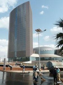 エチオピアの首都アディスアベバに完成したアフリカ連合本部。