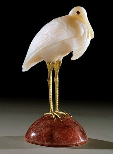 The Lindemanns acquired the white-agate Stork, circa 1920, in 1999. The bird's 18-karat-gold legs rest on a rhodonite base.