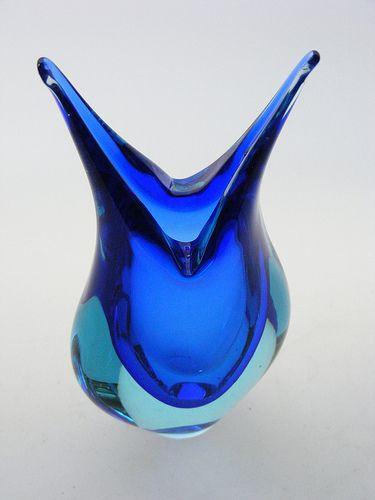 Murano sommerso blue glass vase