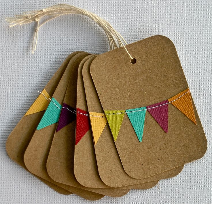 Custom Gift Tags with Bunting Set of 10--You Choose the Colors. $6.99, via Etsy.