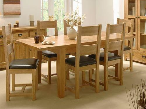 Mẫu ghế bàn ăn 6 ghế gỗ sồi tự nhiên