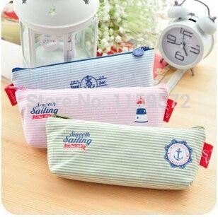 Korea navigation style striated fashion school pencil case, Creative Korea stationary, simple pencil bag, free shipping