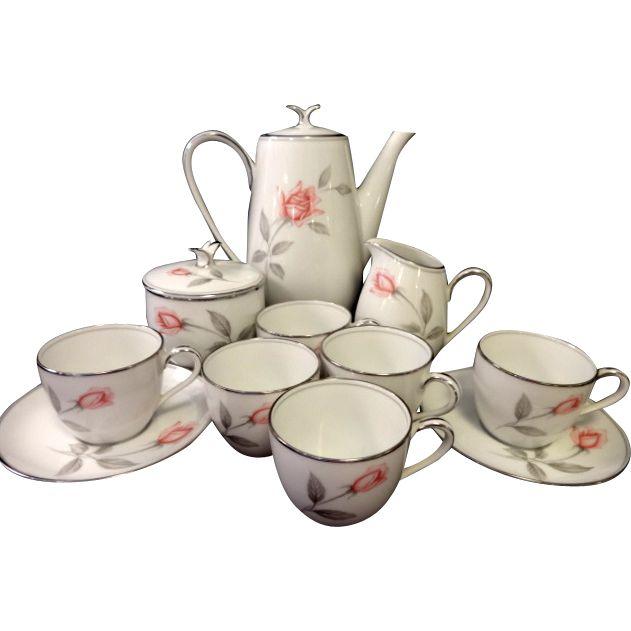 Noritake Rosemarie Demitasse Tea Set - 13 Pieces offered by Ruby Lane Shop, Yesterdays.