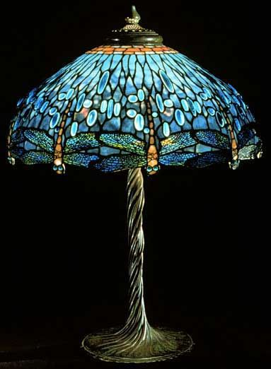 Dragonfly lamp, 1900 by Louis comfort tiffany influenced by Galle.   Peacock feathers & fan shape vases. Favrile- iridescent glass sprayed while hot with metallic salts