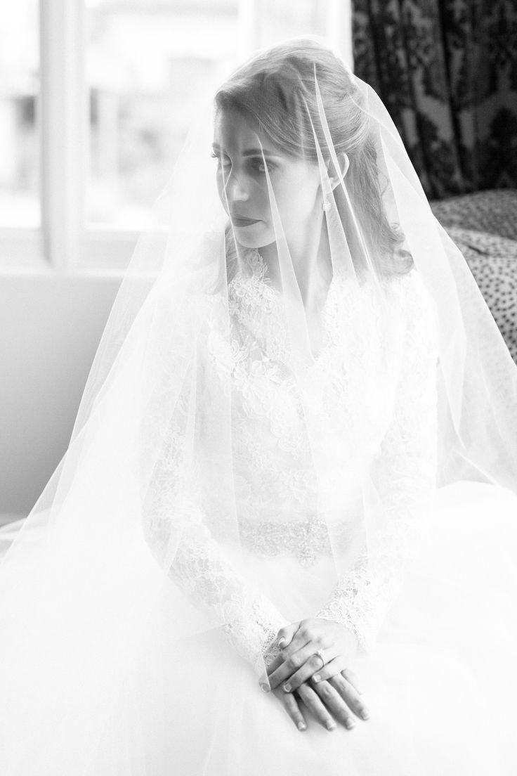Bride Portrait Veil Over Face Sitting | kohl-mansion-san-francisco-wedding-photography-aaronjaclyn