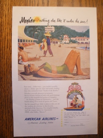 Vintage Ameican Airlines Mexico Ad 1951 by JewelsVintageAds, $3.00