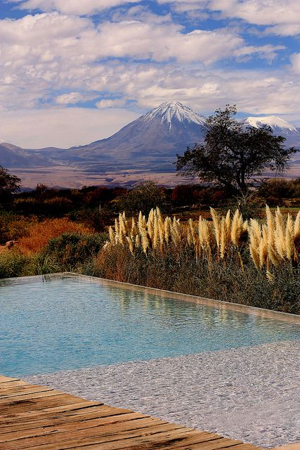 Tierra Atacama, looking towards Licancabur Volcano, Chile