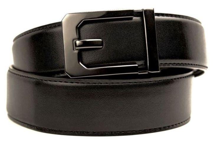 Kore X3 Black Leather Gun Belt. No-holes, ratchet belt. Men's concealed carry belt.