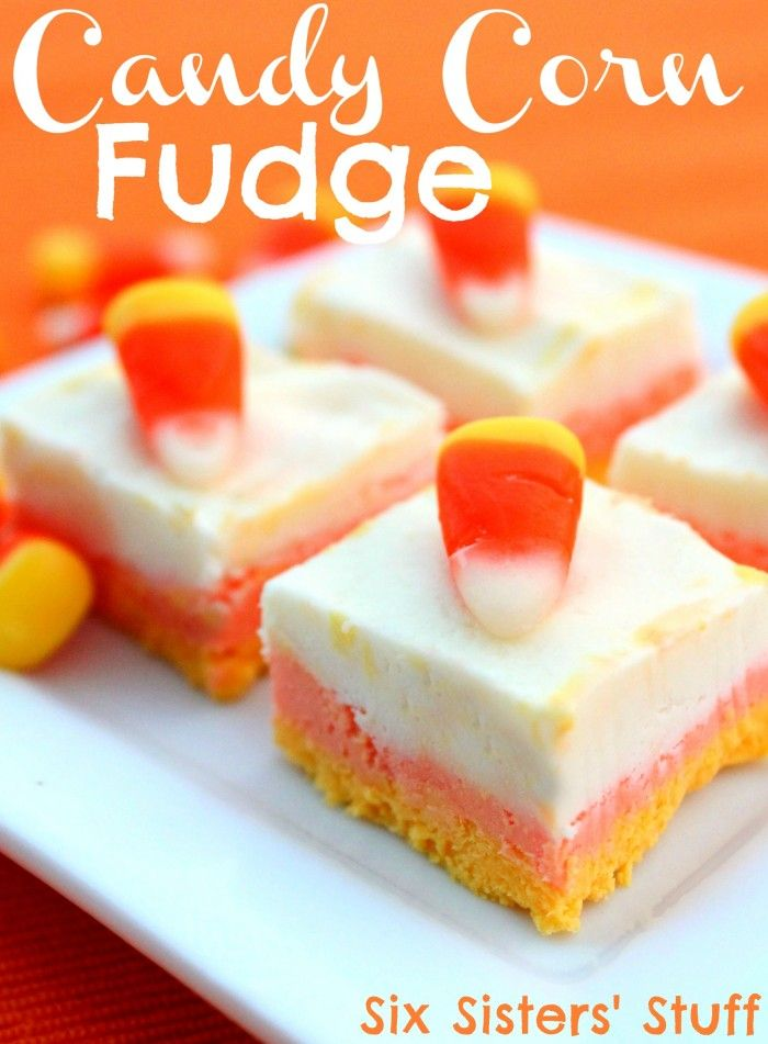 Easy Candy Corn Fudge - The perfect treat for your Halloween Party from Sixsistersstuff.com #dessert #fudge #halloween