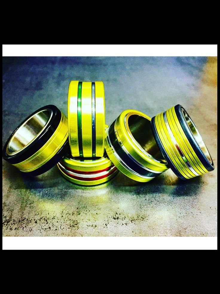 Ayrton Senna tribute HIGH ROLLER rings that I made today using high tech alloys. markgold@markgold.net