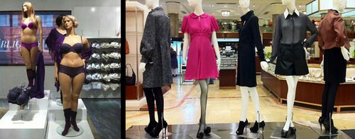 Left: Store mannequins of different sizes in H, Sweden / Right: Store mannequins in Macys, USA