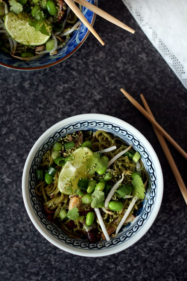 Buckwheat noodles with mushrooms, soy beans and sesame