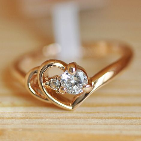 Free Shipping Italina Brand Jewelry Wholesale Rose gold plated Wedding Austrian Crystal Rings fashion heart ring for women gift