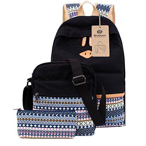 Schulrucksack Canvas M�dchen/Damen Schul Rucksack Set, Schulranzen + Schultertasche / Messenger Bag + Purse Gro�e 3PCS