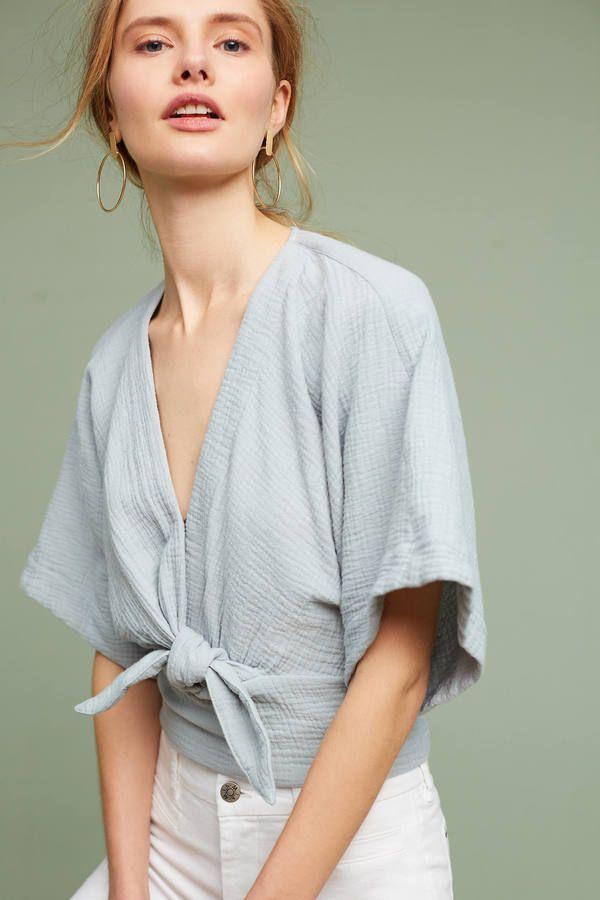 Floreat Raeka Tie-Waist Kimono Blouse
