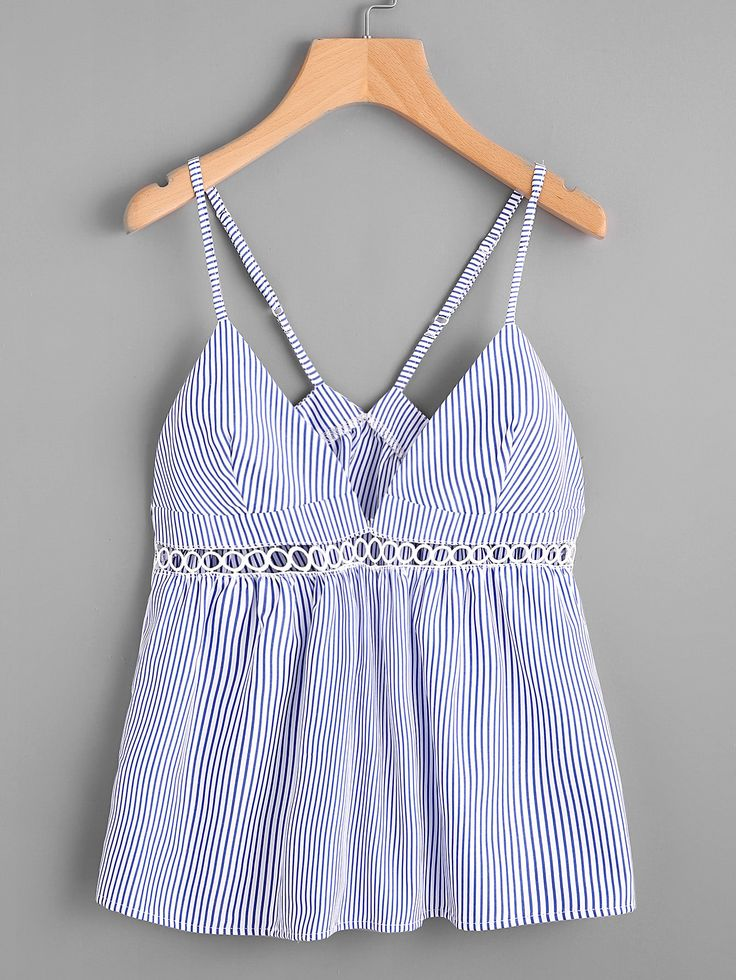 Shop Hollow Lace Panel Vertical Striped Cami Top online. SheIn offers Hollow Lace Panel Vertical Striped Cami Top & more to fit your fashionable needs.