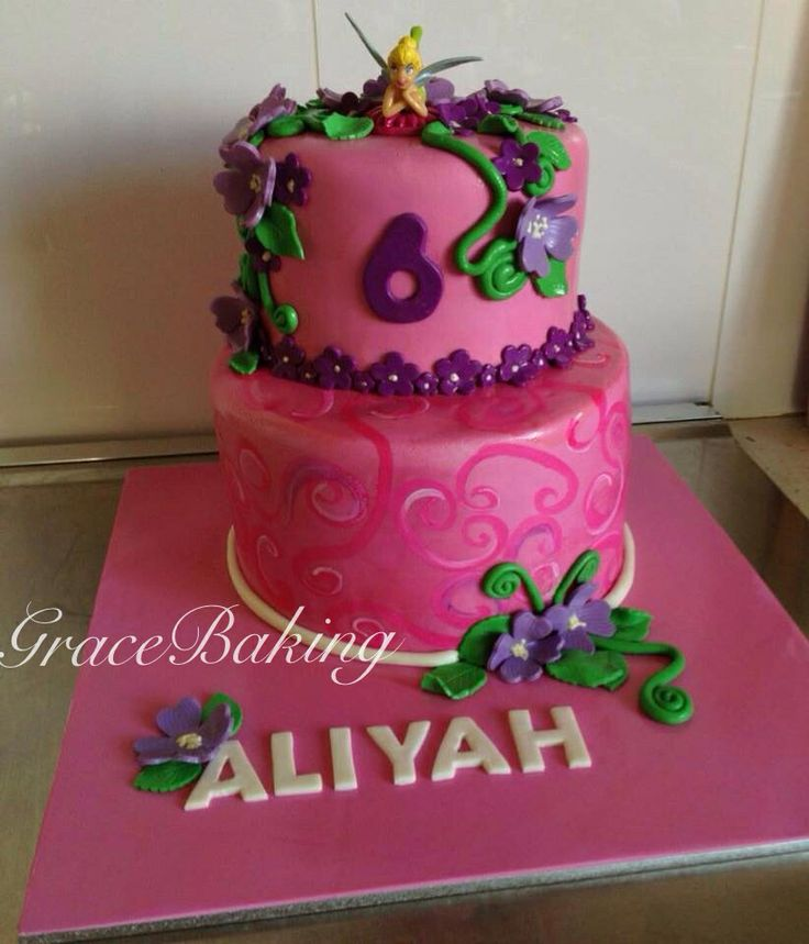 Two tier Tinker-bell cake by Grace Baking