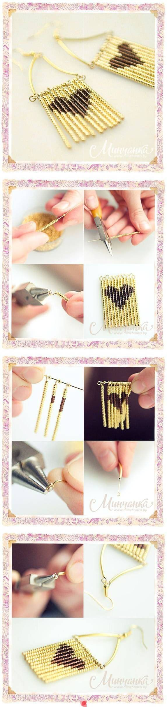 DIY Beads Mosaic Heart Earrings                                                                                                                                                                                 Más