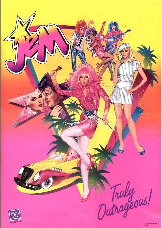 Jem And The Holograms.   This American animated television series ran from 1985-1988. The show is about music company owner Jerrica Benton, her singer alter-ego Jem, her band the Holograms, and their adventures.  My girls ADORED this cartoon.  LOL