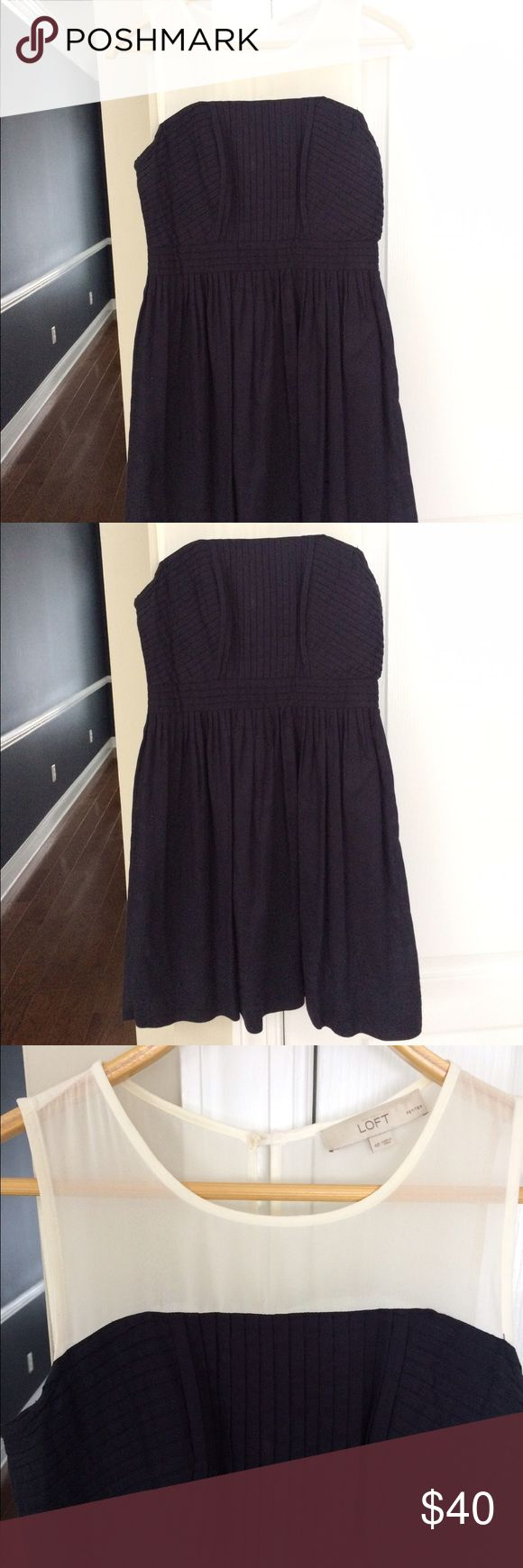 Loft dress size 4p Navy blue/sheer white top Loft dress. Size 4p (I wear 2/4 regular). LOFT Dresses