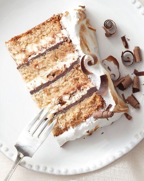 Graham Cracker Cake layered with Chocolate Ganache, Whipped Cream and Marshmallows