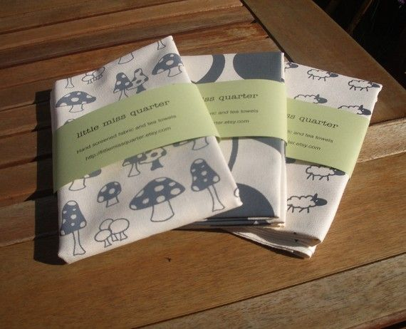 Set of 3 hand screen printed cotton tea towels - Slate Grey print on cream on Etsy, £18.15