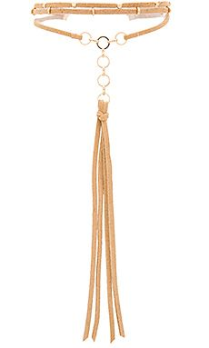 Ettika Suede Role Player Necklace in Tan & Gold