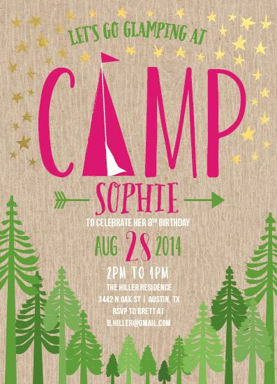 Kaydi Bishop | Glamping: A chic yet rustic invite for a trendy glamping, glamorous camping, kid's birthday party.
