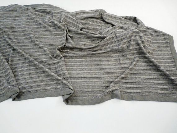 Spring single size Blanket coverlet Pure CASHMERE striped design Dana, color grey, brown, tissued by our craftsmen in Italy FREE Shipment
