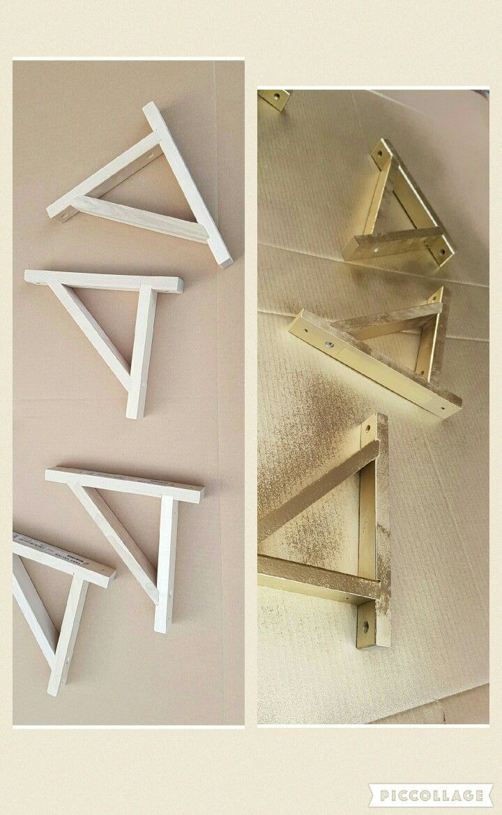 ikea wooden shelf brackets ekby valter sprayed with gold kobra spray paint http