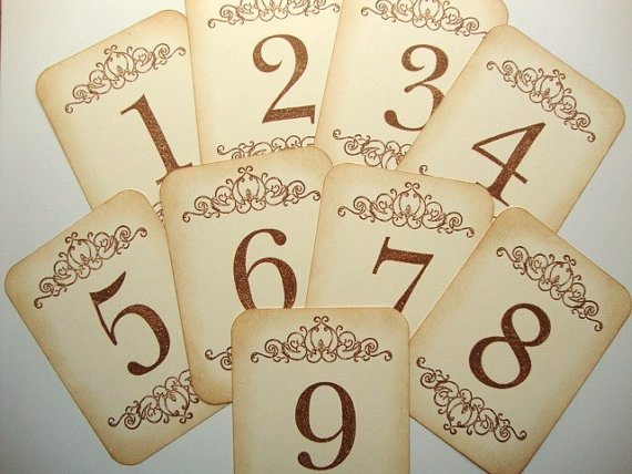 Wedding Table Numbers Vintage Scroll French Country Rustic Decor