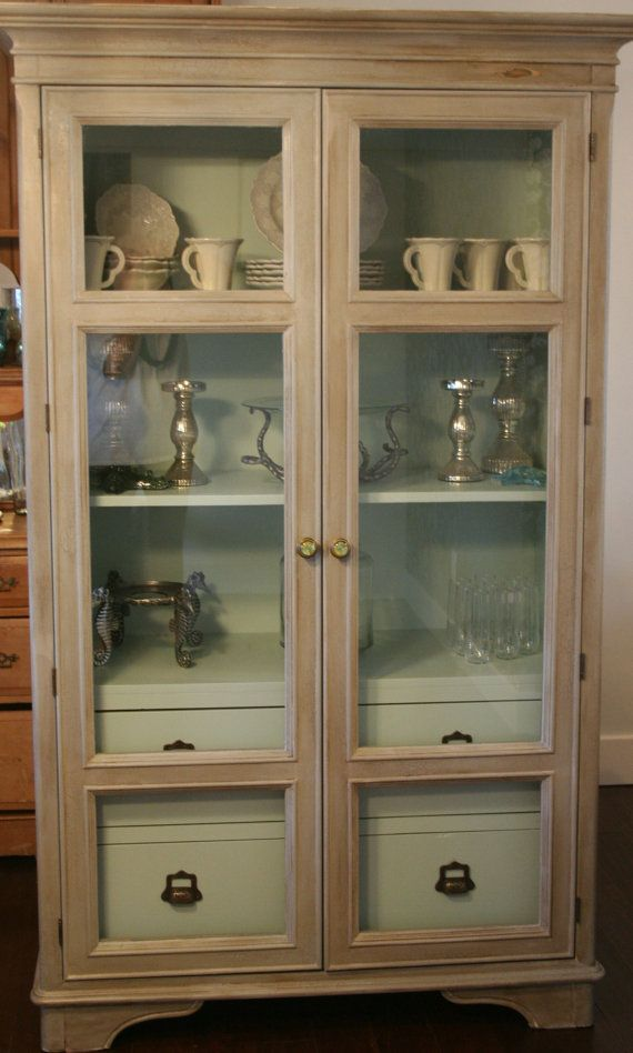 Beautiful Bernhardt Storage Armoire With Glass Doors, Hand Painted With  Chalk Paint On Etsy,