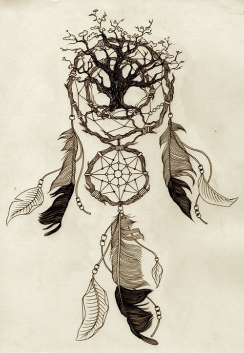 This is awesome especially since I want both a tree tattoo and a dream catcher