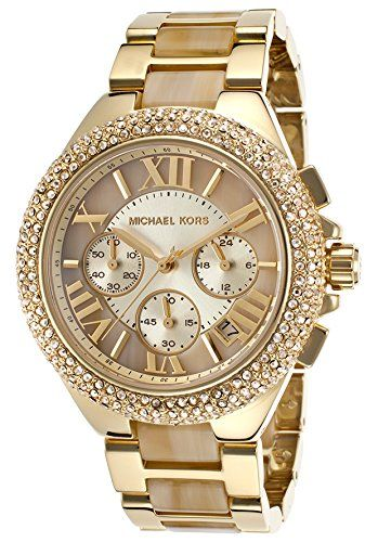 Michael Kors Women's Camille Chronograph Gold-Tone Stainless Steel and Horn Acetate Watch Michael Kors