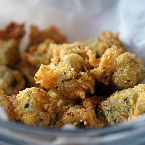 Crunchy Baked Okra ~ 1 lb fresh okra, cut in 3/4 in slices /1 c cornmeal + 1/2 c panko crumbs + 1/2 t kosher salt / 1/2 c buttermilk + 1 beaten egg. Toss cut okra in buttermilk mixture, let stand 3 mins; remove okra from buttermilk  dredge in cornmeal mixture. Spread dredged okra onto a baking sheet coated with cooking spray; sprinkle with additional kosher salt. Bake in 450 degree oven for 30-35 mins,, stirring once, until golden brown  crispy.
