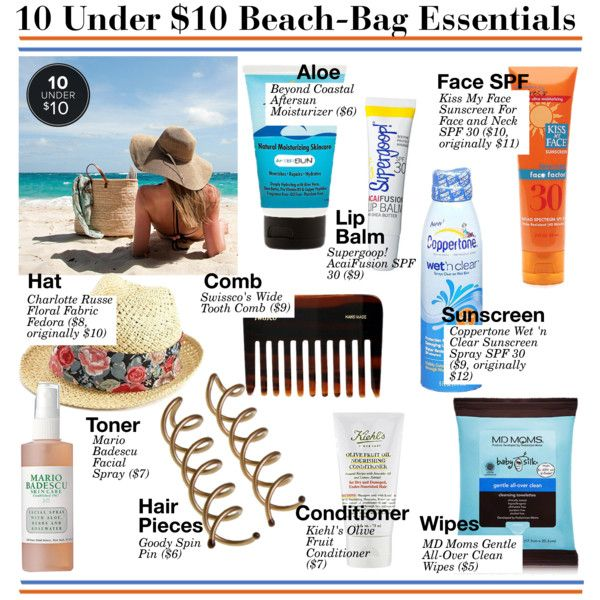 """10 Under $10 Beach-Bag Essentials"" by kusja on Polyvore"