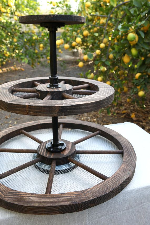 Large Rustic 3 Tier Cupcake Stand Wagon Wheels / Cake by DAPPSY Photo credit: Traveling Tree Photography