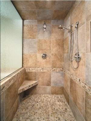 tile shower glass wall for light