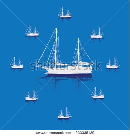 Vector small yachts on the blue background.  - stock vector  #shutterstock #yacht #yangelyat  #vakurolcanimol #cruise