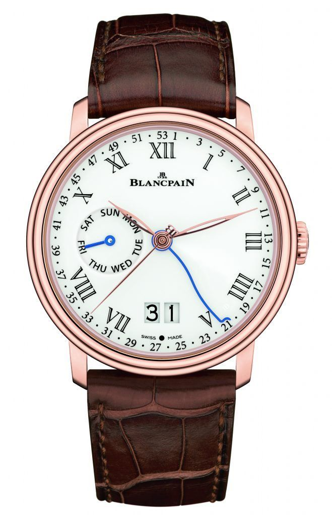 The #blancpain Semainier Grande Date 8 Jours tracks the week of the year on an index along the outside edge of the dial, using a blued serpentine central hand that has a little crook at the end to indicate the week. Its 18k rose gold case is 32 mm wide, 13.4 mm thick and contains the automatic caliber 3738G2. More @ http://www.watchtime.com/wristwatch-industry-news/watches/if-its-week-12-we-must-be-in-basel-blancpain-resurrects-the-least-measured-unit-of-time/ #watchtime #watchnerd…