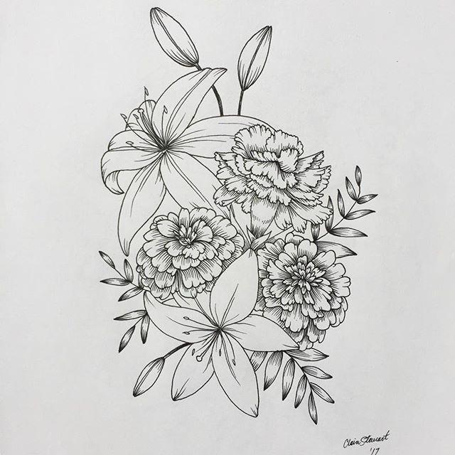 Drawingfusion Com Carnation Flower Tattoo Birth Flower Tattoos Flower Tattoo Drawings