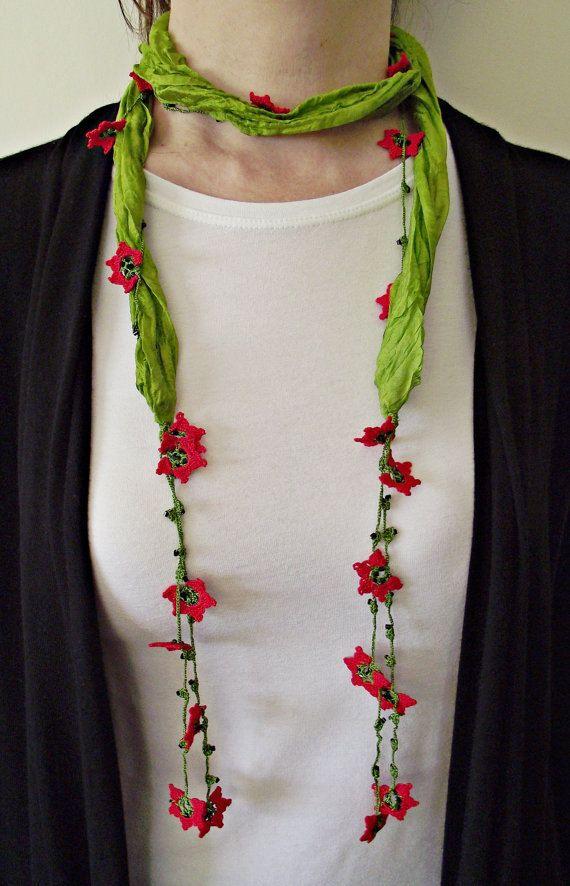 oya crochet necklace Bufanda se mi largo con flores tejidas.