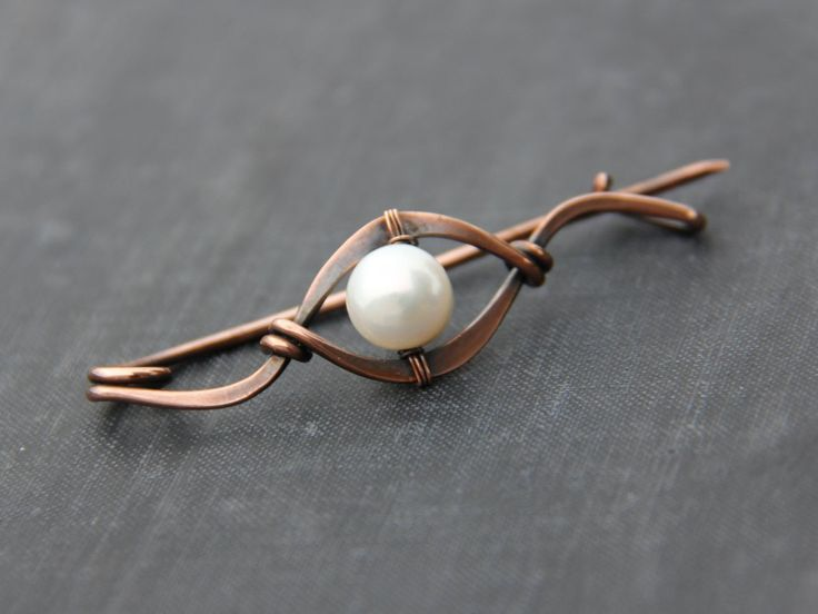 Shawl pin, scarf pin, brooch, sweater pin, cardigan closure, antique copper and pearl elegant shawl pin, wire wrap, modern, minimalist by Keepandcherish on Etsy