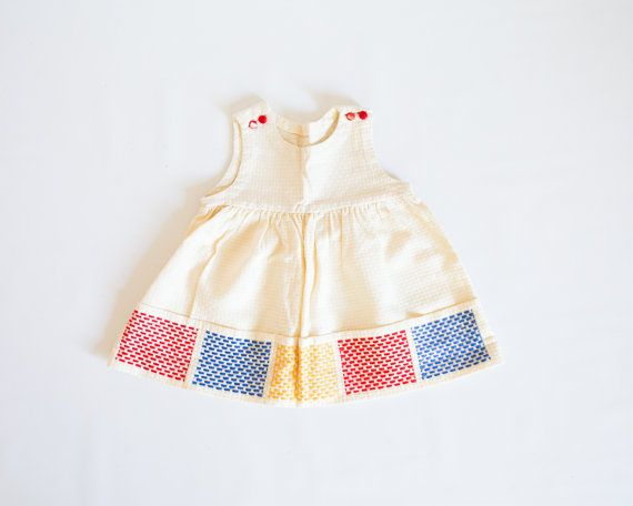 Vintage Baby Dress Cream with Red Yellow and Blue