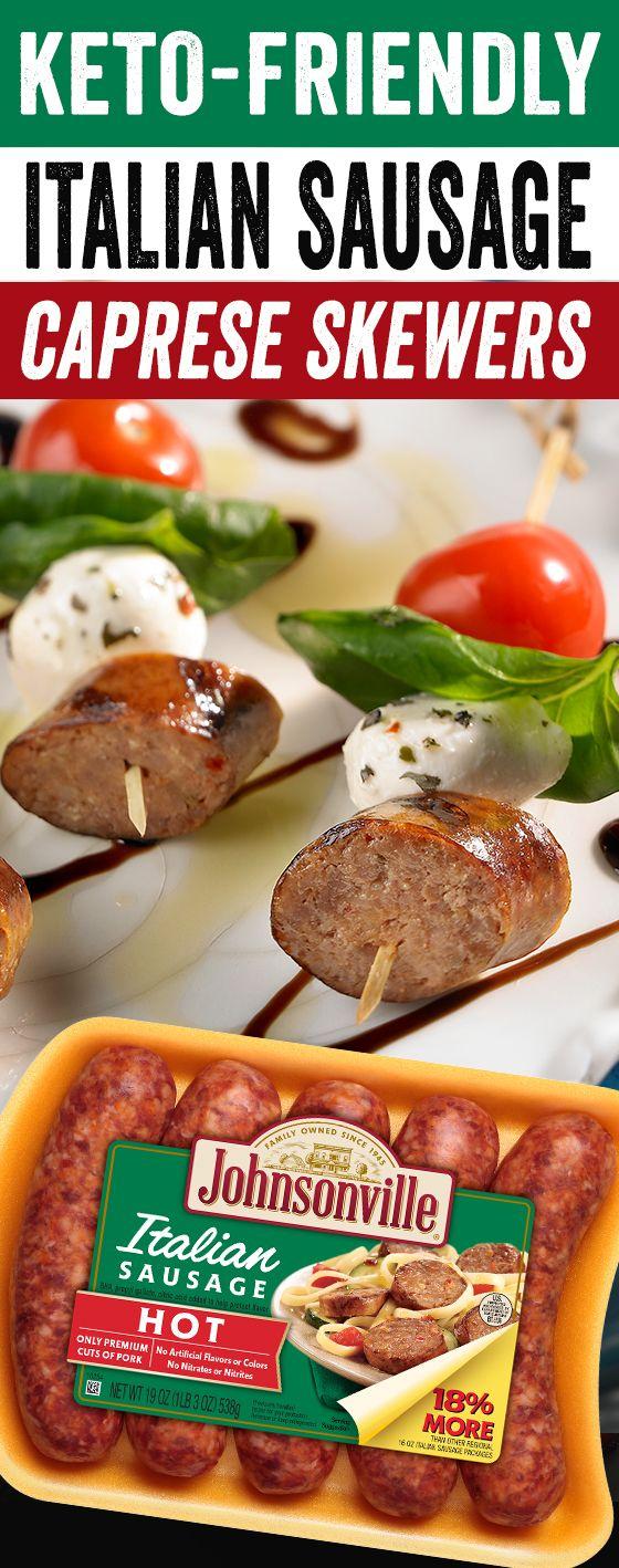 Italian Sausage Caprese Skewers
